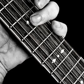 Playing Music by Anthony Balzarini - Black & White Objects & Still Life ( #guitar, #music, #guitarfrets, #playing, #fretting, #guitarstrings,  )