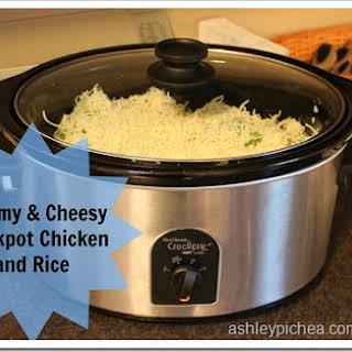 Creamy & Cheesy Crockpot Chicken and Rice.