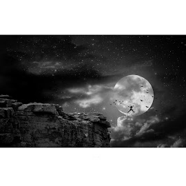 Lets quit the simulation by Pranab Sarkar - Digital Art Places ( sky, moon, jumping, illustration, black and white )