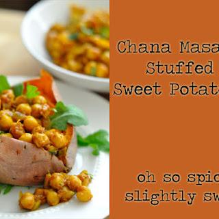 Chana Masala Stuffed Sweet Potatoes.