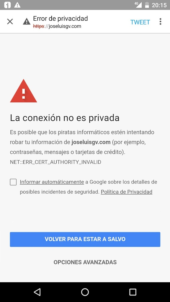 SSL roto con Chrome en Nexus 6