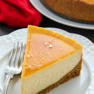 Salted Caramel Eggnog Cheesecake