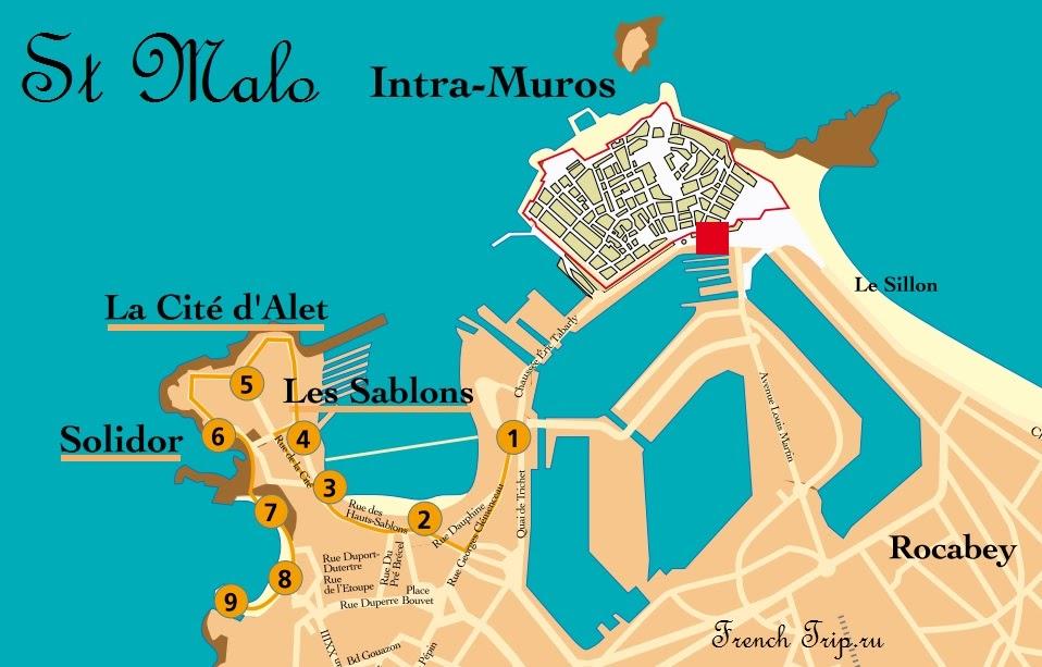 Сен-Мало: туристический маршрут Les Sablons, la Cité d'Alet и Port Solidor с картой, путеводитель по Сен-Мало. Что посмотреть в Сен-Мало (Saint-Malo), Бретань, Франция, Сен-мало путеводитель, гид по Сен мало, Бретань путеводитель, город Сен-Мало, крепость Сен-Мало, укрепления Сен-Мало, туристический маршрут Сен-Мало, достопримечательности Сен-Мало