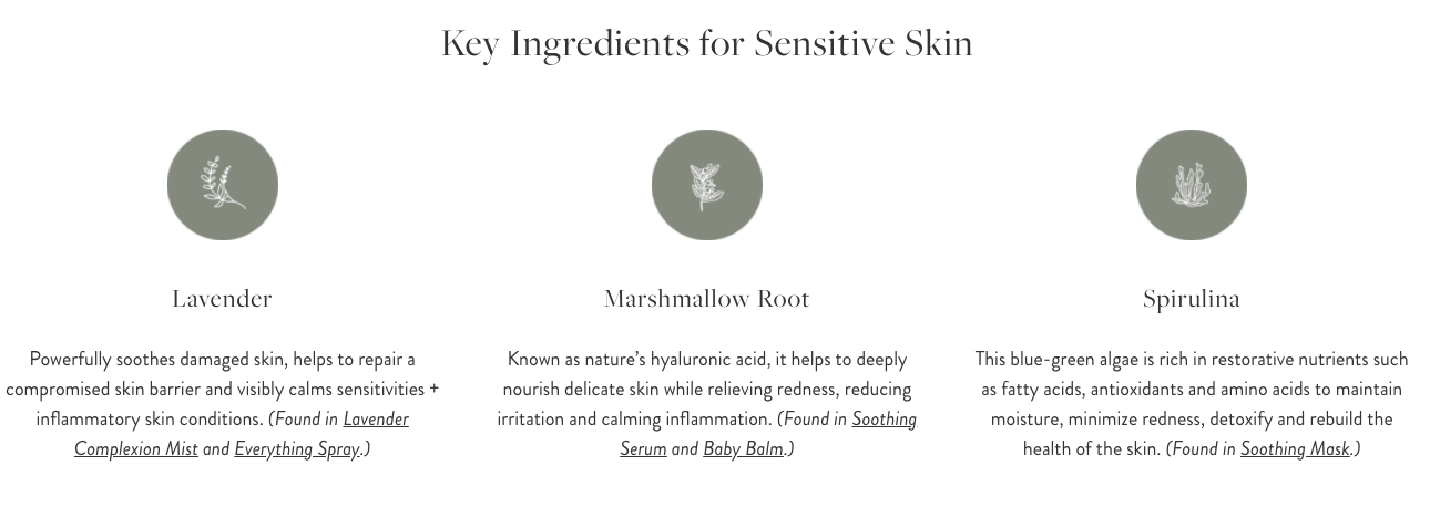 key ingredients for sensitive skin from result page