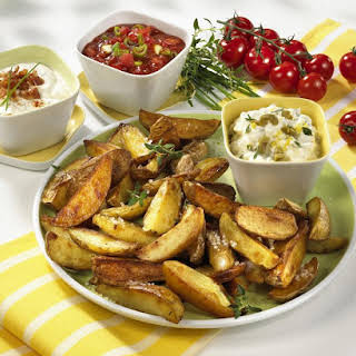 Roasted Potato Wedges with a Trio of Dips.
