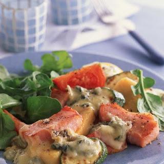 Crispy Polenta with Mixed Vegetables and Gorgonzola.