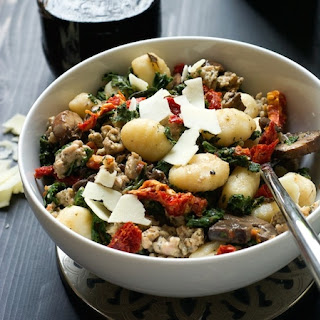 One Pot Tuscan Kale, Sun Dried Tomato & Chicken Sausage Gnocchi