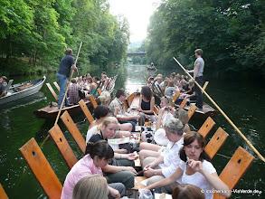 Photo: Firmenfahrt mit Vesper ... 3 Kähne fahren nebeneinander den Neckar hoch, so bleibt die Gruppe zusammen.