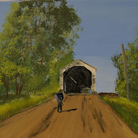 Walking the Line by Robin Smith - Painting All Painting ( people, landscape, architecture )