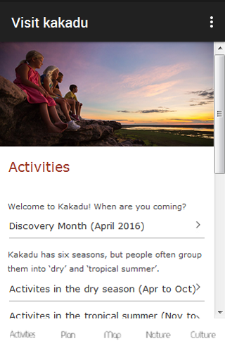 Kakadu Visitors Guide- screenshot