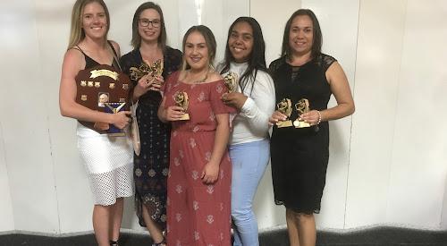 League tag award winners Jess Schwager, Natalia Smith, Telisha Hilderson, Kiesha Leonard and Angie Knox.