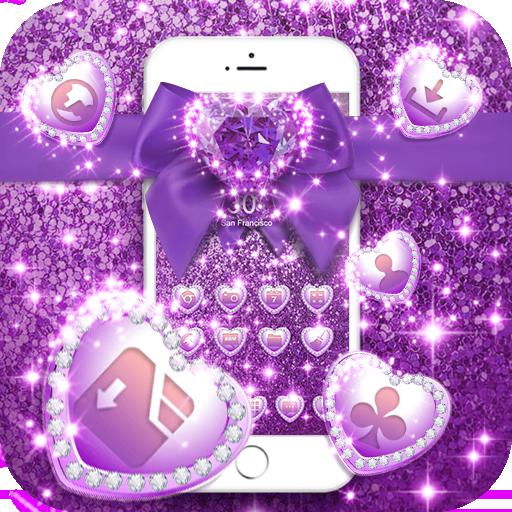 Purple Glitter Bowknot Luxury Theme