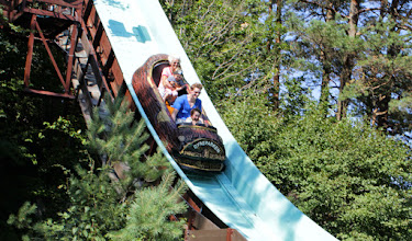 Photo: Tømmerrenna at full speed! Big splash coming up!