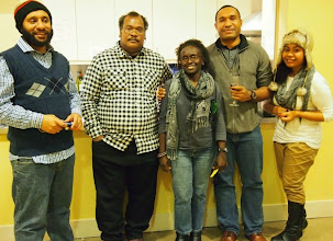 Photo: Students who travelled from far - Felix Kipalan (PNG Chevening Scholar/Leeds); Fr Nigel Kalaepa (SI Chevening Scholar/Leeds), Collette Tsiperau (PNG/Leicester), Robin Oge (PNG/Oxford); and Oala Muttucumaraswamy (PNG)  Photo courtesy of Collette.