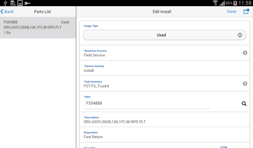 Oracle Mobile Field Service- screenshot