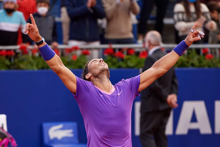 Rafael Nadal of Spain celebrates his victory against Stefanos Tsitsipas of Greece in the Barcelona Open Banc Sabadell 2021 in Barcelona, Spain, April 25 2021. Picture: ALEX CAPARROS/GETTY IMAGES