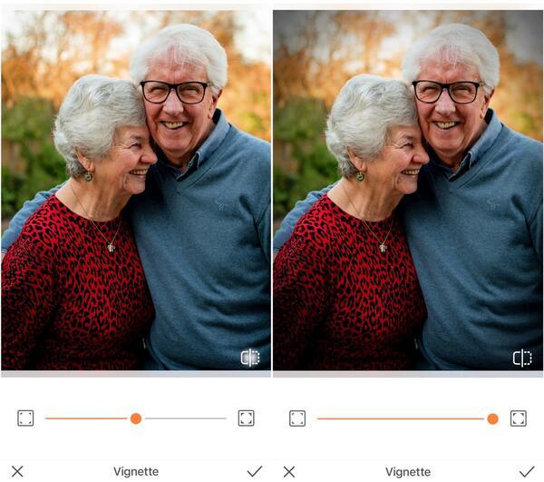 Foto de avós sorrindo sendo editada pelo AirBrush com a ferramenta Vinheta
