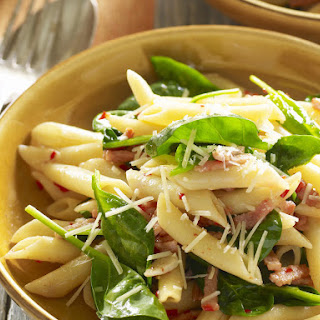 Spinach, Garlic and Bacon Penne