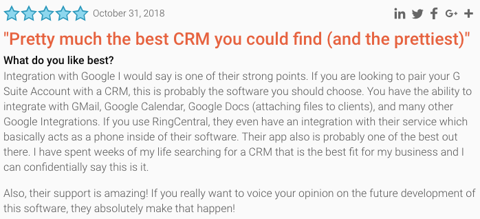review of copper crm as seen on g2 crowd