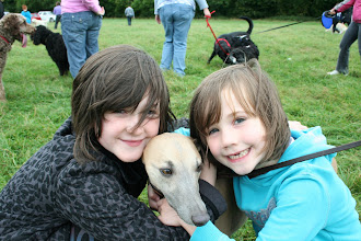 Photo: Now that is the perfect picture to capture a fun day! Lily and Holly with their most favourite dog Henry Whippet.
