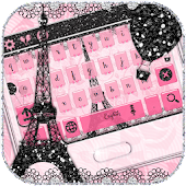 Pink Paris Rose Keyboard Eiffel Tower Theme