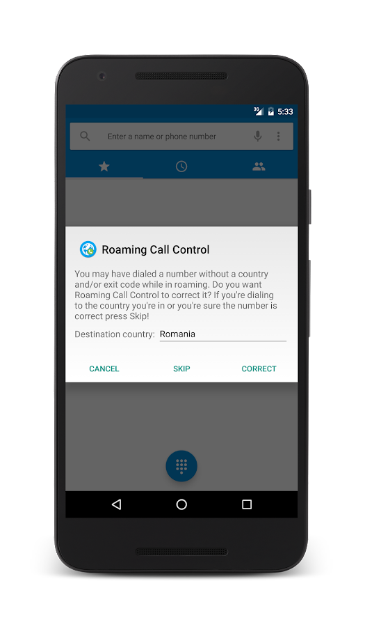 Roaming Call Control- screenshot