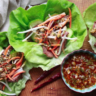 Grilled Flank Steak Lettuce Cups with Nuoc Cham.