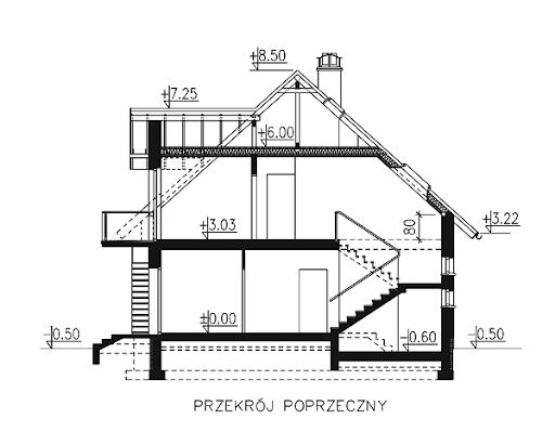 BW-27 z garażem jednostanowiskowym - Przekrój