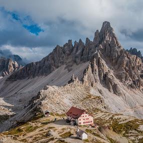 by Mario Horvat - Landscapes Mountains & Hills ( rifugio, mountains, dolomites, paterno, italia, clouds, dolomiti, italy )