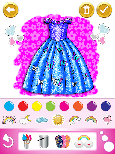 Glitter dress coloring and drawing book for Kids screenshot 11