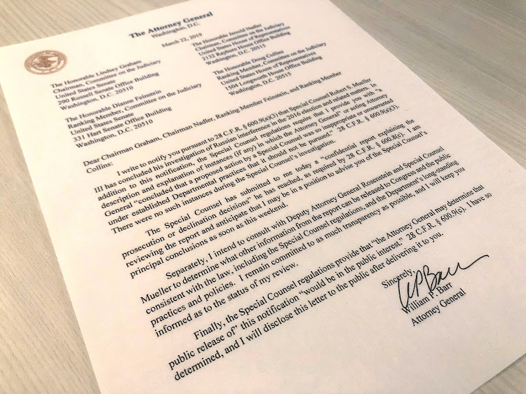 U.S. Attorney General William Barr's letter to U.S. lawmakers stating that the investigation by Special Counsel Robert Mueller has been concluded and that Mueller has submitted his report to the Attorney General is seen in Washington on March 22, 2019.
