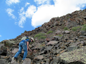 Photo: Bradley climbing the field of rocks
