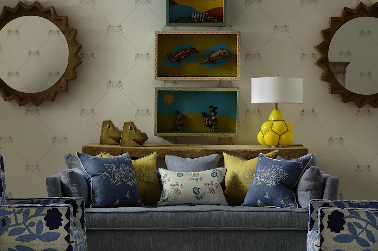 Unicorn Grey Wallpaper with Bloomsbury Sofa in Summit Beach and Psycho Sprig Tropical Blue and Friendly Folk Happy Blue and Provencal Yellow scatter cushions.