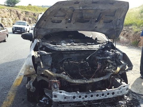 A Ford Kuga that burnt out on the side of the highway. Picture: SUPPLIED