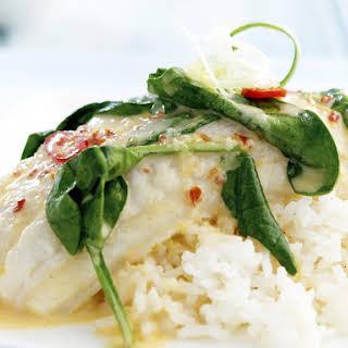White Fish Poached in Coconut Cream.