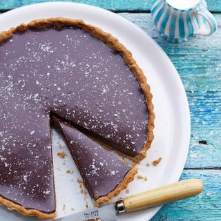 Rich Chocolate Tart With Salt Flakes.