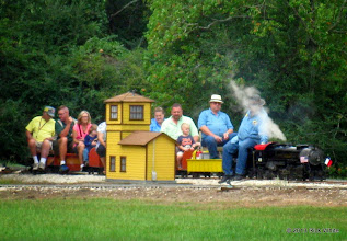Photo: 1036   Conductor Stu Marion, Gary Brothers by engineer, and Pete Greene behind the steam.    HALS Public Run Day 2013-0921 RPW