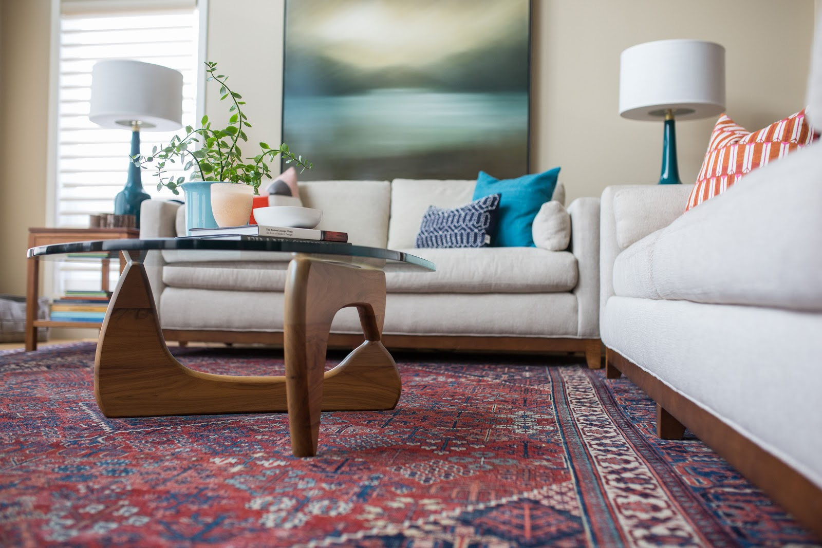 calgary interior design leanne bunnell red navy area rug living room grounds furniture