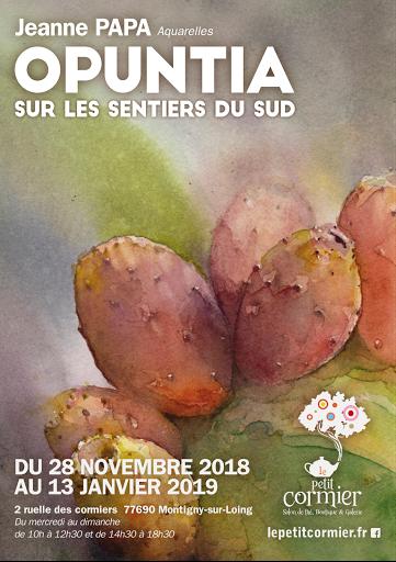 Jeanne PAPA aquarelle  _ EXPO PETIT CORMIER 2018__OPUNTIA, sur les sentier du sud