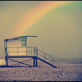 InTheEnd by Alex Newstead - Landscapes Beaches ( sand, instagram, hut, beach, bournemouth, rainbow )