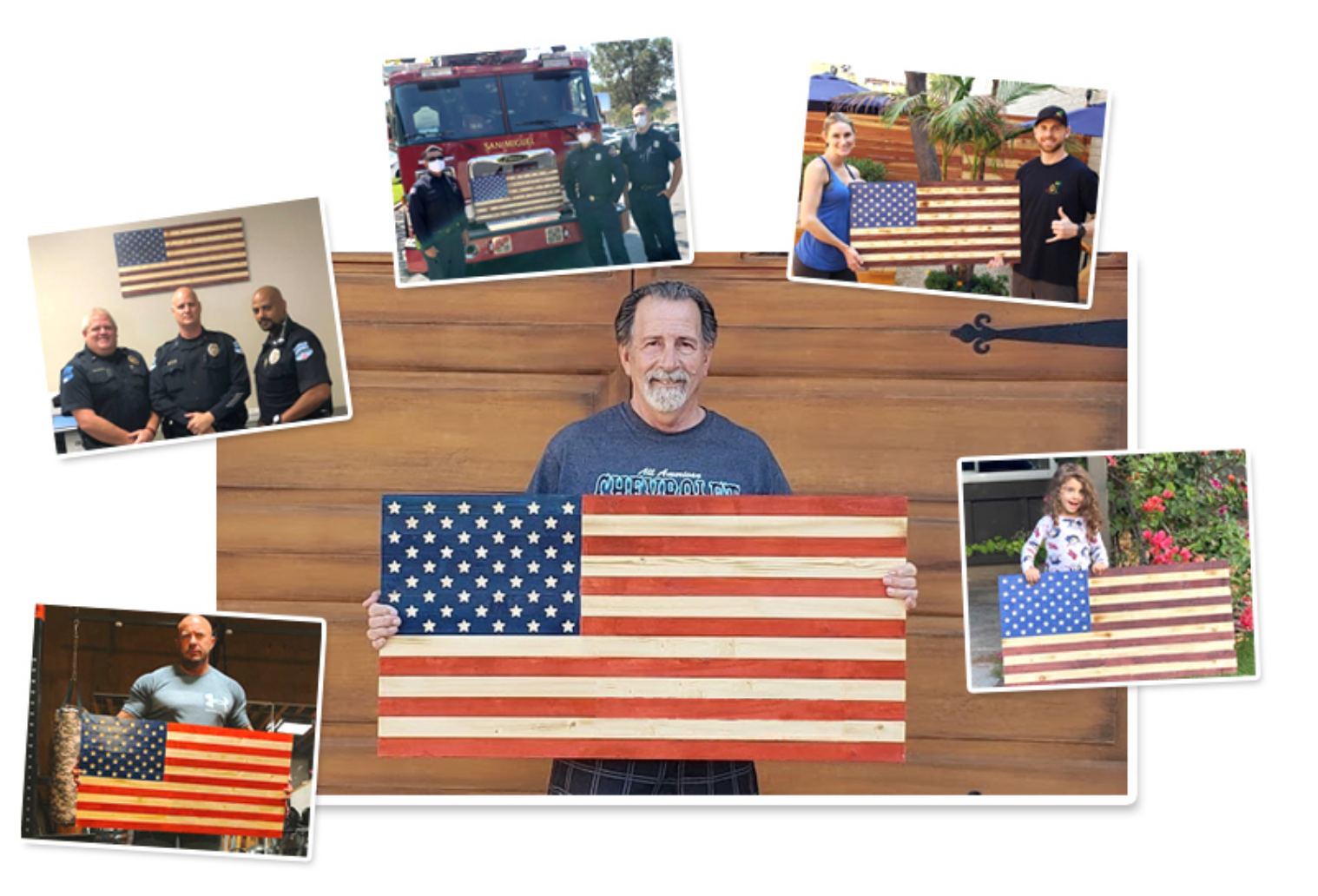 Freedom Flags - Happy Customers Posing with their wooden American flags