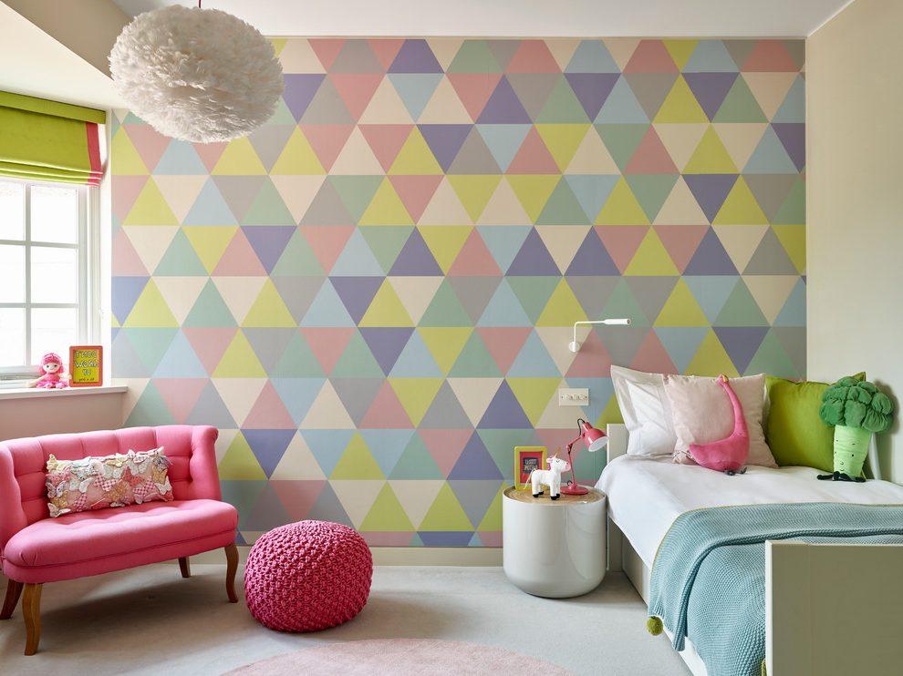 Inspirasi kamar tidur anak dengan dinding geometris - source: madebymood.com