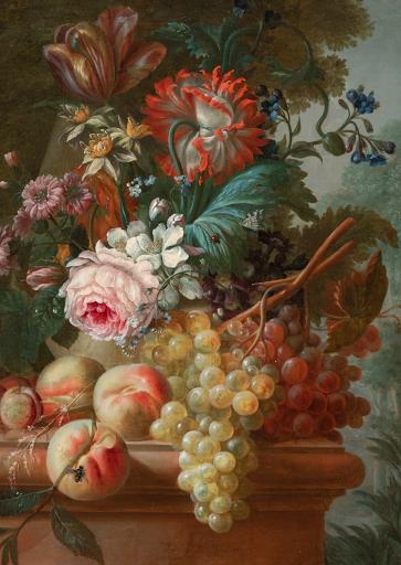Fleurs et Fruits sur un Entablement de Pierre