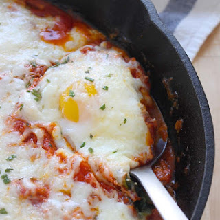 Baked Eggs with Potatoes, Spinach, and Marinara