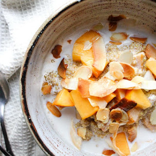 Quinoa Porridge with Persimmon, Almonds + Coconut.