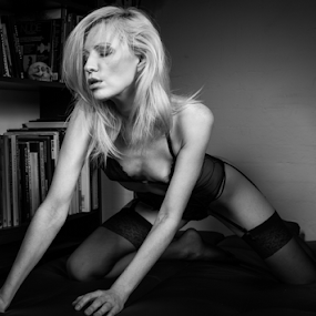 by Paul Phull - Black & White Portraits & People ( pose, sexy, blonde, lingerie )