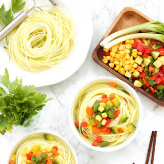 Healthy Vegetable Zucchini Noodle Soup.