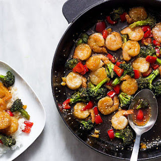 Teriyaki Shrimp and Broccoli Stir Fry.