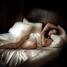 Any time by Jim Oakes - Nudes & Boudoir Boudoir ( bed, pretty, model, window, female )