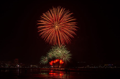 Fireworks Display. by John Greene - Public Holidays New Year's Eve ( colorful, new year, thailand, fireworks, festival, display, night sky, pattaya )